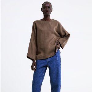 Zara Oversized Linen Tunic-Style Top